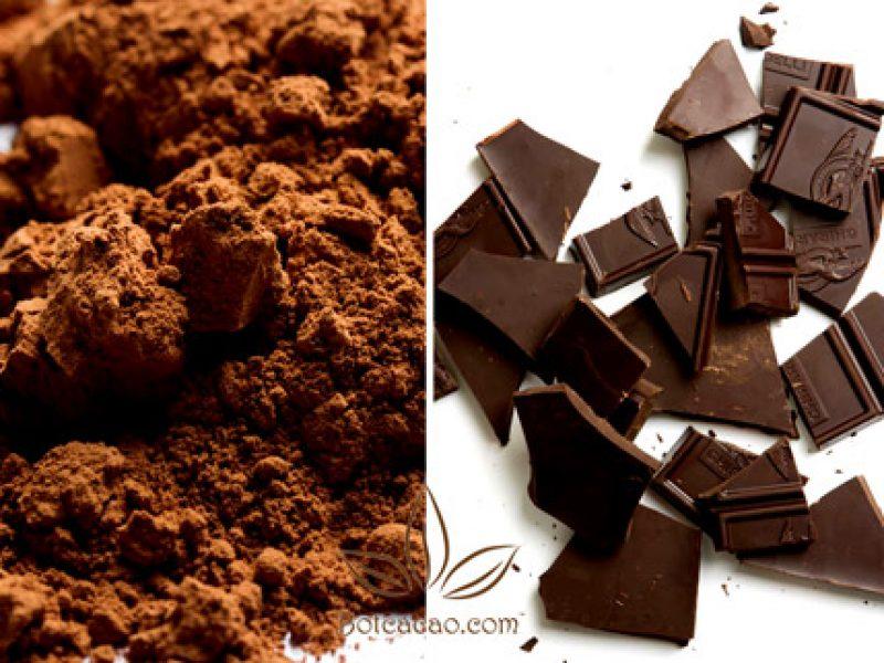 Bột cacao và socola đen trong làm bánh